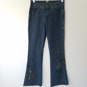 Vintage Cache Floral Beaded Bedazzled Flare Jeans